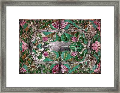 Stained Glass Art Nouveau Window Framed Print