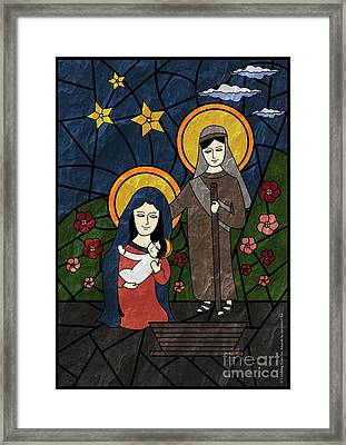 Stained Glass Artwork Of The Holy Family - Baby Jesus, Mother Mary And Saint Joseph Framed Print