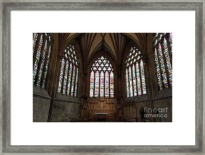 Stained Glass At Wells Framed Print by Stuart Attwell
