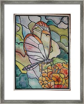 Stained Glass Butterfly Framed Print