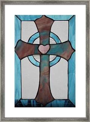 Stained Glass Cross Framed Print by Ralph Hecht
