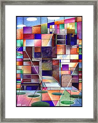 Framed Print featuring the drawing Stained Glass Factory by Jane Bucci