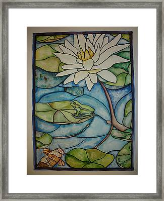 Stained Glass Frog Framed Print