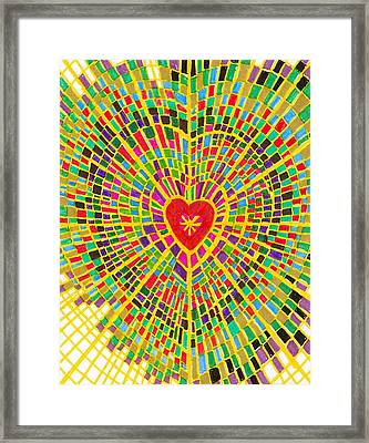 Stained Glass Heart Framed Print by Brenda Adams