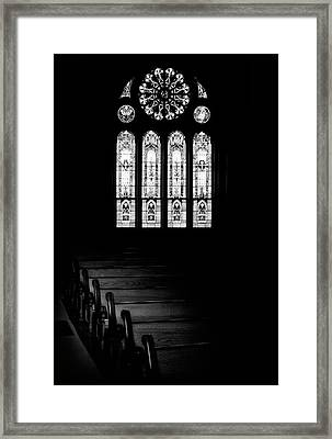 Stained Glass In Black And White Framed Print by Tom Mc Nemar