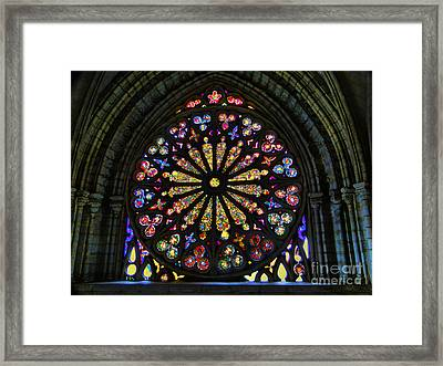 Stained Glass In Old Quito Ecuador Basilica Framed Print by Al Bourassa