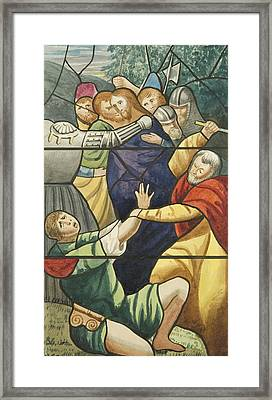 Stained Glass In St Mark's  The Taking Of Christ  Framed Print by Joseph Manning