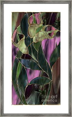 Stained Glass Khaki Callas Framed Print by Mindy Sommers
