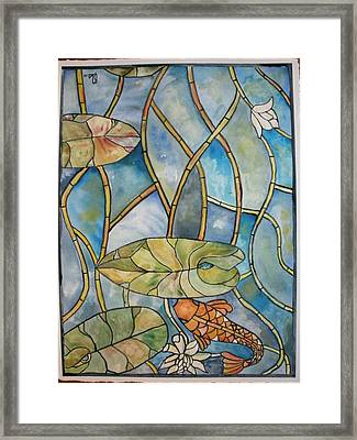 Stained Glass Koi Framed Print