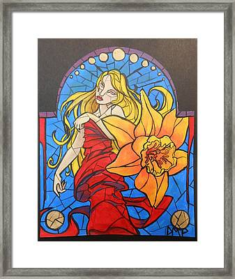 Stained Glass Lilly Framed Print by Diane Peters