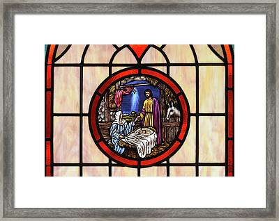 Stained Glass Nativity Window Framed Print