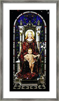 Stained Glass Of Virgin Mary Framed Print by Adam Romanowicz