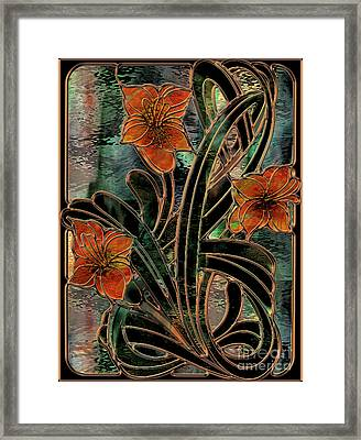 Stained Glass Parabolas Framed Print by Mindy Sommers