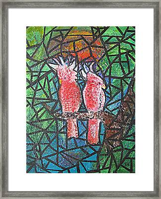 Stained Glass Parrots Framed Print
