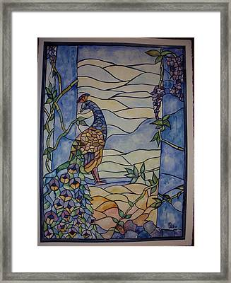 Stained Glass Peacock Framed Print