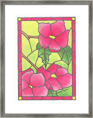 Stained Glass Peonies Framed Print