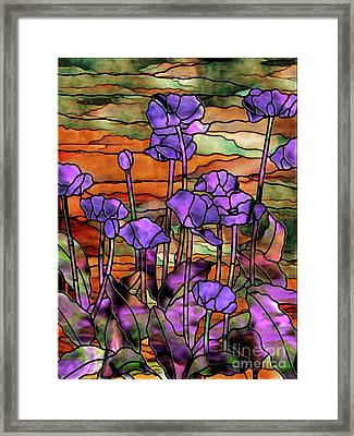Stained Glass Poppies Framed Print by Mindy Sommers