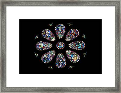 Stained Glass Rose Window In Lisbon Cathedral Framed Print by Artur Bogacki