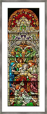 Framed Print featuring the photograph Stained Glass Scene 1 Crop by Adam Jewell