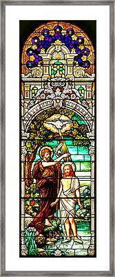 Framed Print featuring the photograph Stained Glass Scene 2 Crop 2 by Adam Jewell