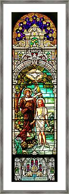 Framed Print featuring the photograph Stained Glass Scene 2 Crop by Adam Jewell