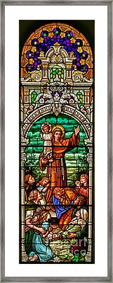 Framed Print featuring the photograph Stained Glass Scene 6 Crop by Adam Jewell