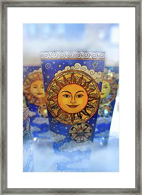 Stained Glass Sun Face Framed Print by Art Spectrum