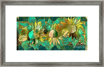 Stained Glass Sunflowers Framed Print by Mindy Sommers