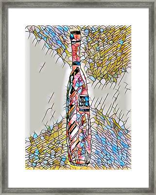 Stained Glass Tall Red Wine Bottle Framed Print