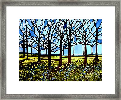Stained Glass Trees Framed Print by Elizabeth Robinette Tyndall