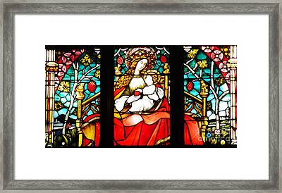 Stained Glass Virgin And Child 2 Framed Print by Sarah Loft