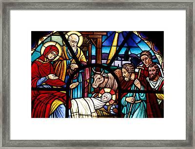 Stained Glass Window Depicting The Nativity Framed Print by American School