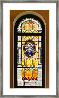 Stained Glass Window Father Antonio Ubach Framed Print by Christine Till