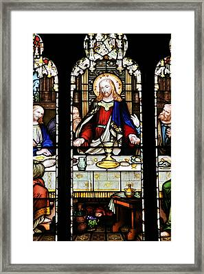 Stained Glass Window Last Supper Saint Giles Cathedral Edinburgh Scotland Framed Print by Christine Till