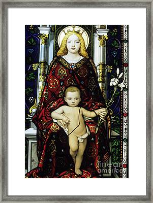 Stained Glass Window Of The Madonna And Child Framed Print by Sami Sarkis