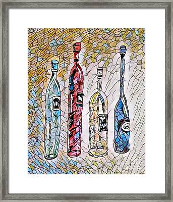 Stained Glass Wine Bottles Framed Print