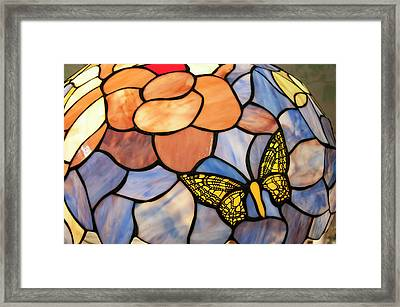 Framed Print featuring the photograph Stained Glass With Butterfly by Chris Flees