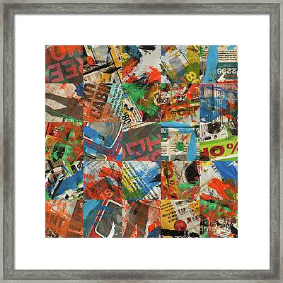 Stained Newspaper Pages Framed Print