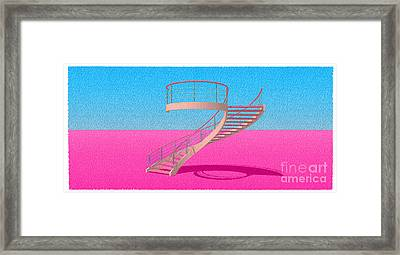 Stair 11 Architecture Sketch Abstract Art Framed Print by Pablo Franchi