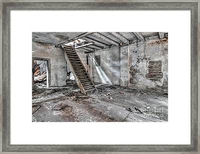 Framed Print featuring the photograph Stair In Old Abandoned  Building by Michal Boubin