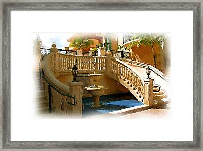 Staircase And Fountain Framed Print by Ralph Liebstein