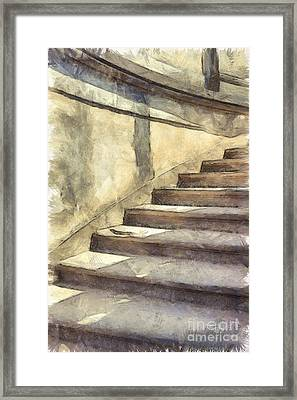 Staircase At Pitti Palace Florence Pencil Framed Print by Edward Fielding