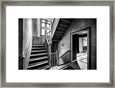 Staircase In Abandoned Castle - Urban Exploration Framed Print by Dirk Ercken