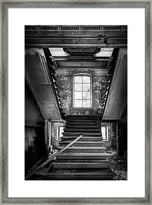 Staircase In Abandoned Castle - Urbex Framed Print by Dirk Ercken