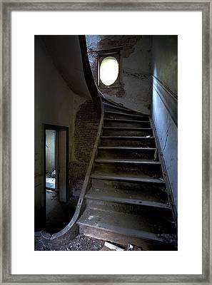 Staircase In Decay- Urban Exploration Framed Print