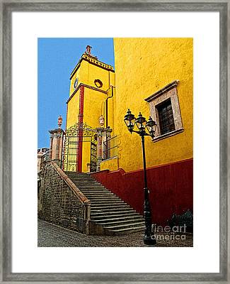 Staircase With Gate Framed Print by Mexicolors Art Photography