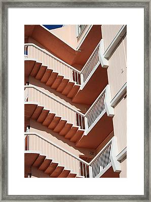 Stairs And Rails Framed Print by Rob Hans