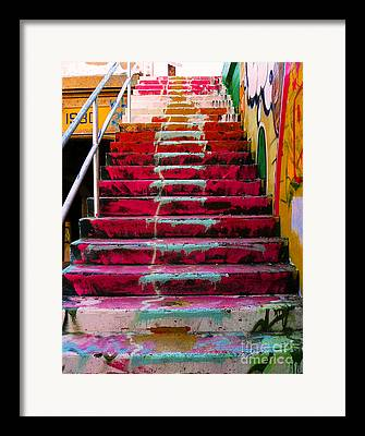 Downtown Stairs Framed Prints