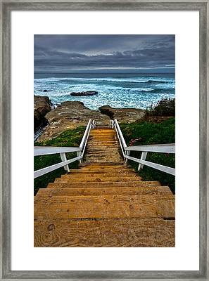 Stairs Down Framed Print by Peter Tellone