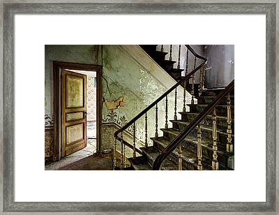 Stairs In Abandoned Castle - Urban Decay Framed Print by Dirk Ercken